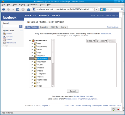 IcedTeaPlugin running the Facebook photo uploader applet.