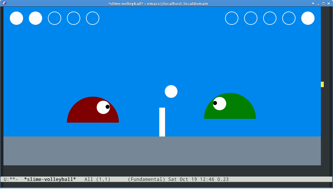 Emacs Slime Volleyball Screenshot -- Gameplay