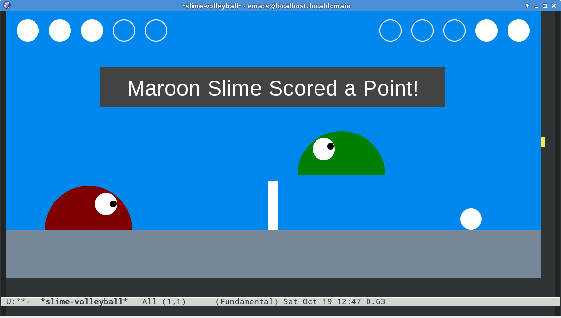 Emacs Slime Volleyball Screenshot -- Scoring a Point