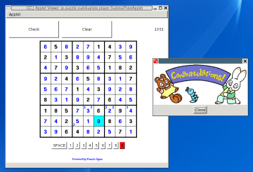 gcjappletviewer running a Sudoku applet